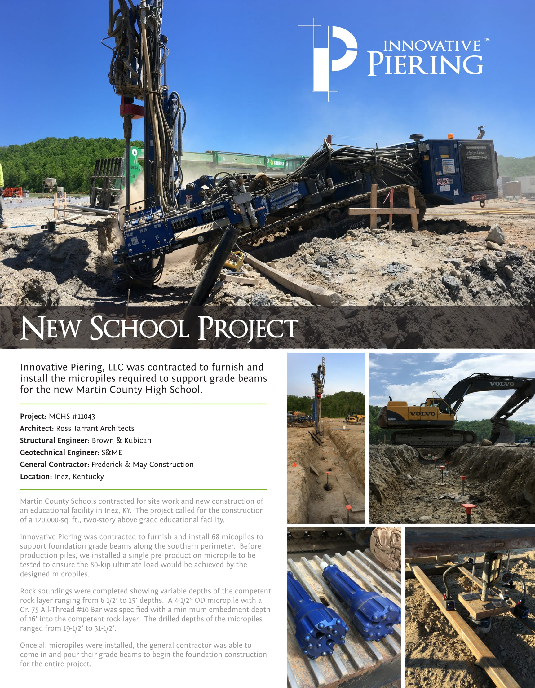 Martin County High School Foundation Project - Inez, Kentucky - Innovative Piering