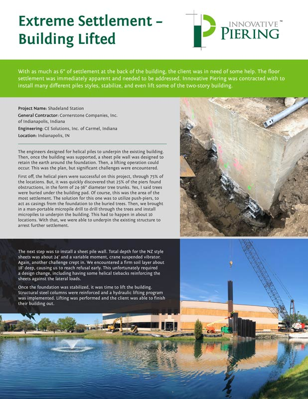 Shadeland Station Case Study - Indianapolis, IN - Innovative Piering